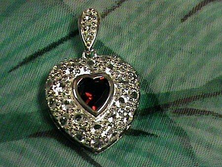 Beautiful Garnet & Sapphire Sterling Silver Heart