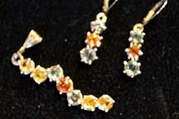 Multi-Color Sapphire 14kt Pendant & Earrings GIA