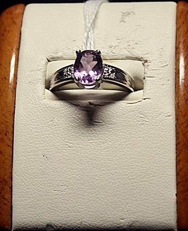 Lady's Fancy Amethyst with Diamond Chips Sterling