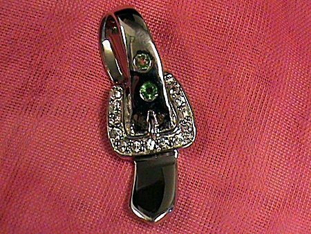 Fancy Sapphire Belt Buckle Sterling Silver Pendant.
