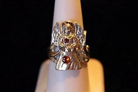 Unisex Sapphire Angel Solid Sterling Silver Ring