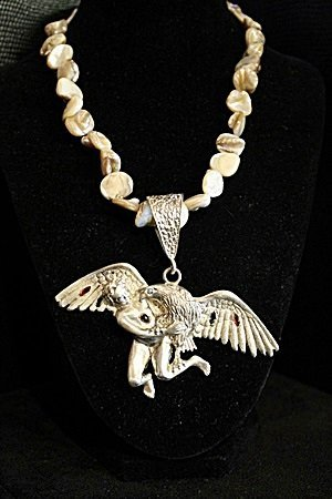 "Opal Necklace With Sterling Silver ""Bird & Child"""