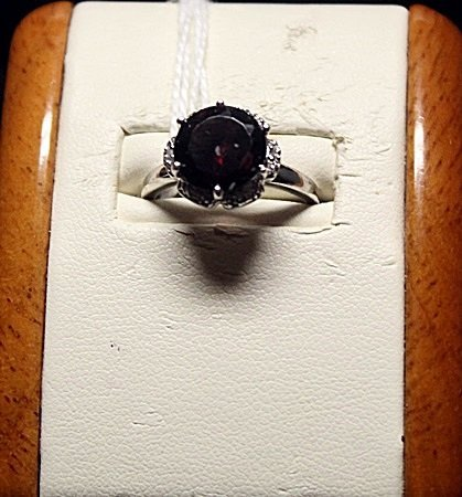 Beautiful Garnet with Diamond Chips Sterling Silver