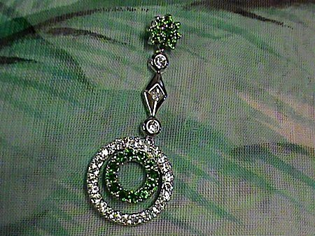 Beautiful Chrome Diopside with Sapphires Sterling