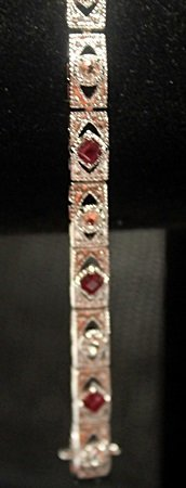 Fancy Princes Cut Sterling Silver Ruby & White Sapphire