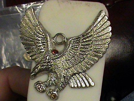 Genuine Sapphire Sterling Silver Landing Eagle Pendant