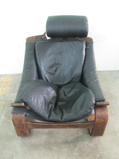 European? Leather and Laminated Wood Base Chair