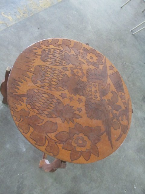 """Carved Wood Table 30"""" Across"""