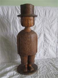 "One Piece Carved Wood Statue 27"" Tall"