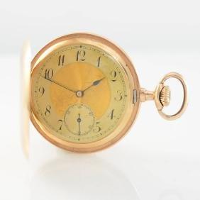 Hunting cased 14k pink gold pocket watch