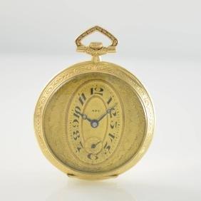 APT open face 18k yellow gold pocket watch