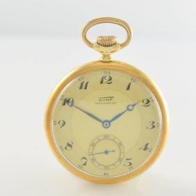 TISSOT 14k yellow gold open face pocket watch