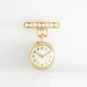 Ladies pocket-/pendant watch in 18k pink/yellow gold
