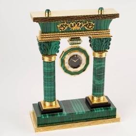 Portal table clock in malachite