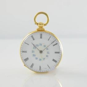 Open face 18k yellow gold key winding pocket watch