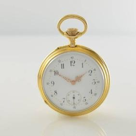 Open face 14k yellow gold pocket watch
