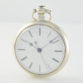 Open face duplex escapement silver pocket watch