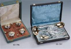 4 salt cups with spoons in orig.-case, german approx.