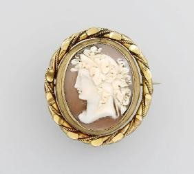 Brooch with shell cameo, England approx. 1870/80s