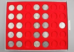 Lot 21 silver coins, 5 Mark, Germany