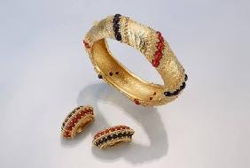 Bangle and pair of earclips Christian Dior, 1960s