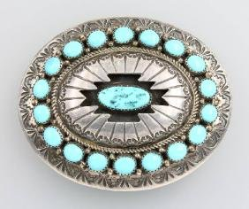 Belt buckle with turquoise, NAVAJO, Sterling silver
