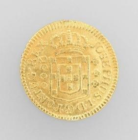 Gold coin, 2000 Reis, Brazil, 1773, JOSEPHUS ID G