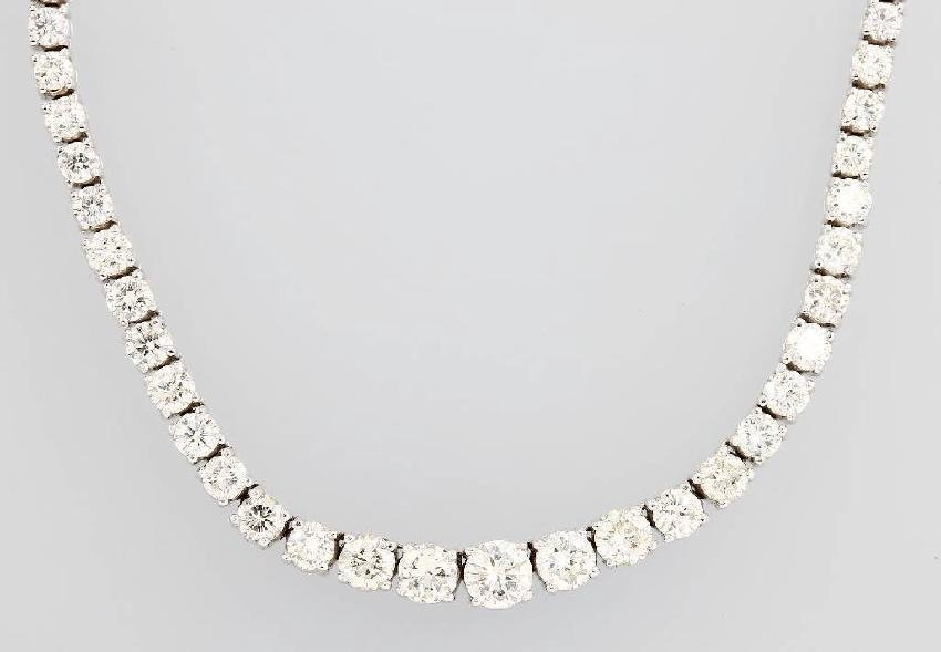 14 kt gold rivierenecklace with brilliants