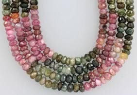 4-row necklace with tourmalines