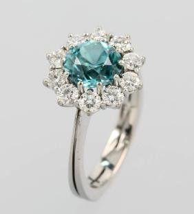 18 kt gold ring with zircon and brilliants
