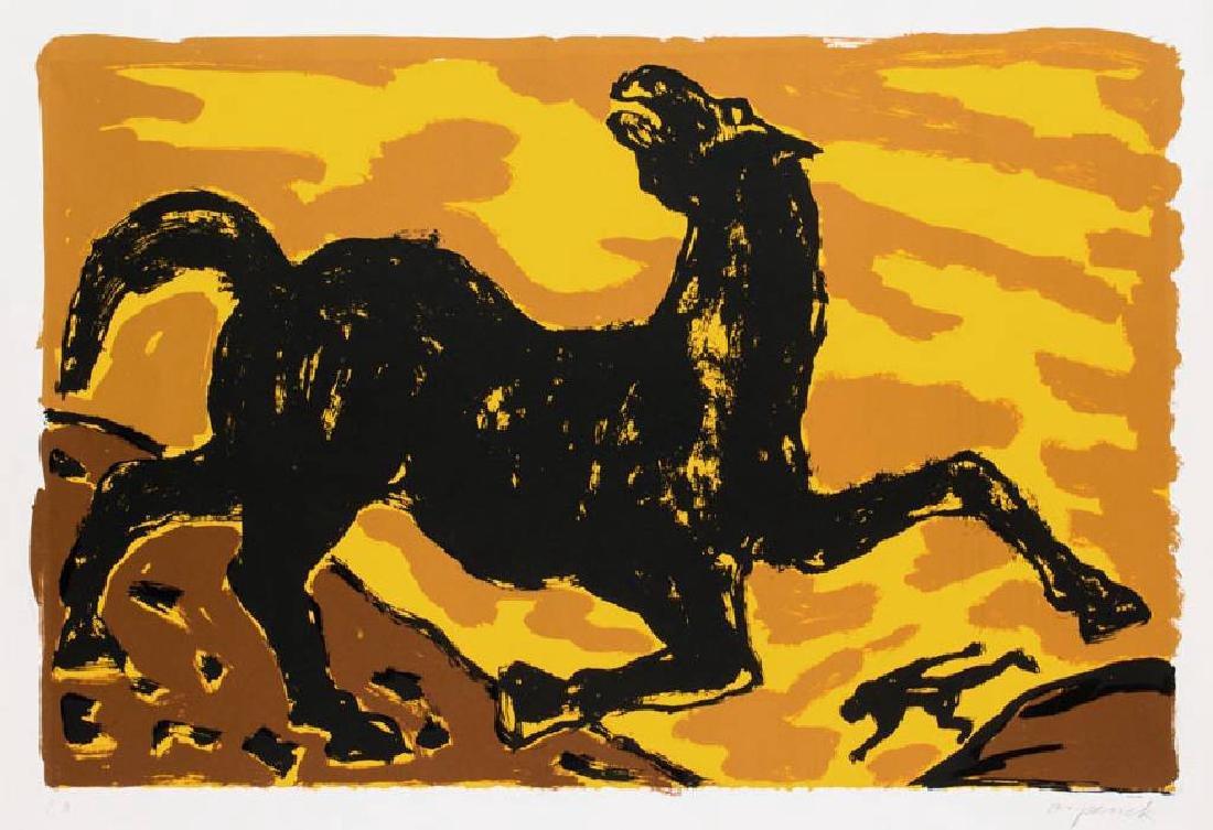 A. R. Penck, born 1939, Konjunktion, color serigraph
