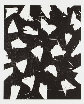 Günther Uecker, born 1930, woodcut on Arches handmade