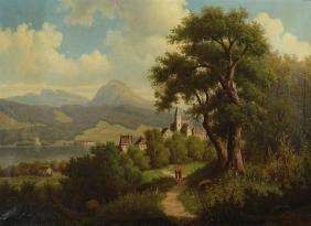 Wilhelm Oppitz, born 1874, romantic pre-Alps landscape