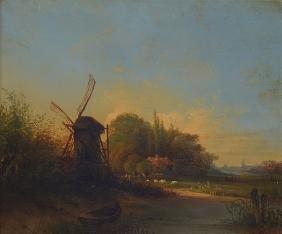 Dutch painter, mid 19th century, sunset over dutch