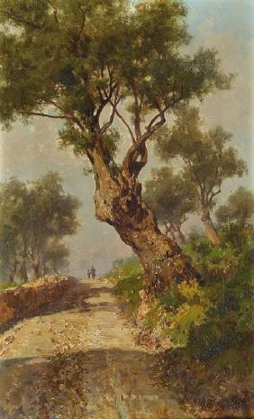 Francesco Lojacono, 1841-1915, two figures on a tree