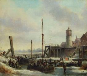 Dutch artist, mid 19th century, port view in winter