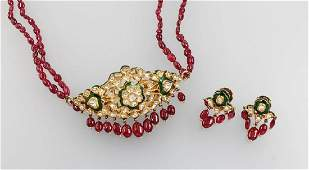 Set of jewelry with diamond roses and enamel, YG 22 ct