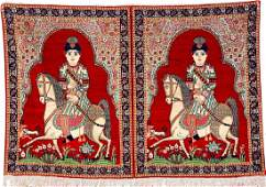 A Pair Of KirmanRavar Pictorial Rugs Ahmad Shah