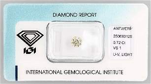 Loose old cut diamond 072 ct Light yellow UVvs1