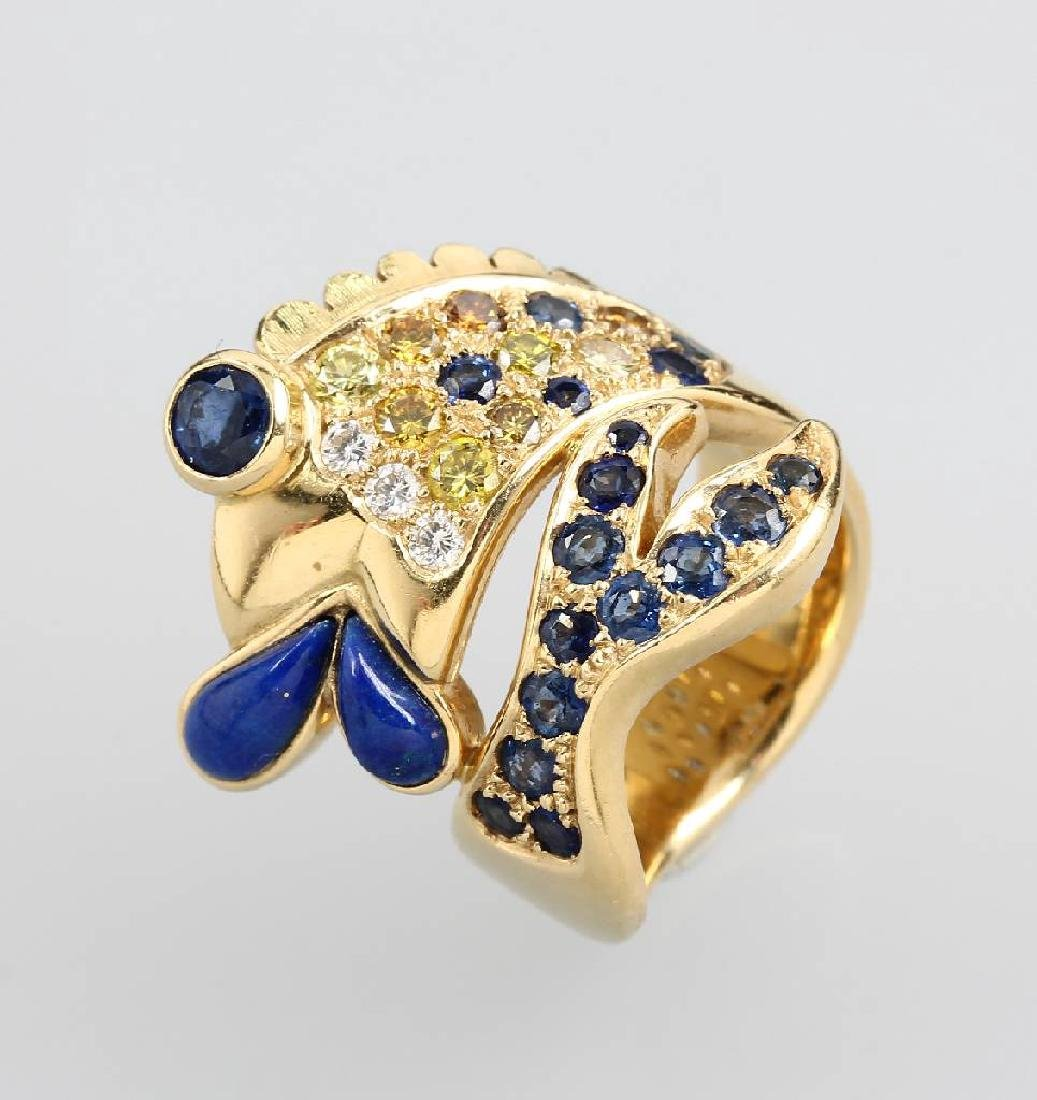 18 kt gold ring 'fish' with brilliants and coloured