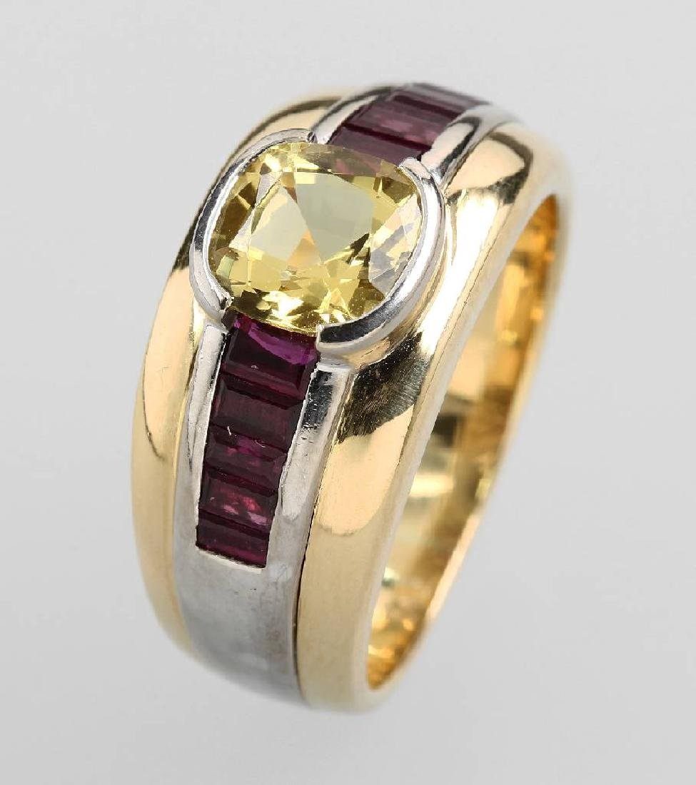 18 kt gold ring with coloured stones