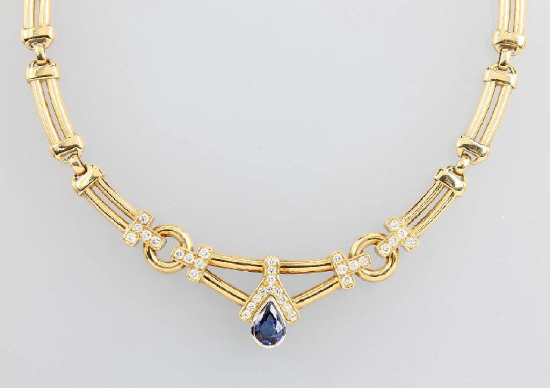 18 kt gold necklace with sapphire and brilliants