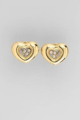 Pair Of 18 Kt Gold Chopard Ear Clips With Brilliants