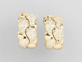 Pair Of 18 Kt Gold Chopard Clip Earrings With Diamonds