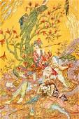 'Part-Silk' Tabriz Pictorial-Rug (50 RAJ),