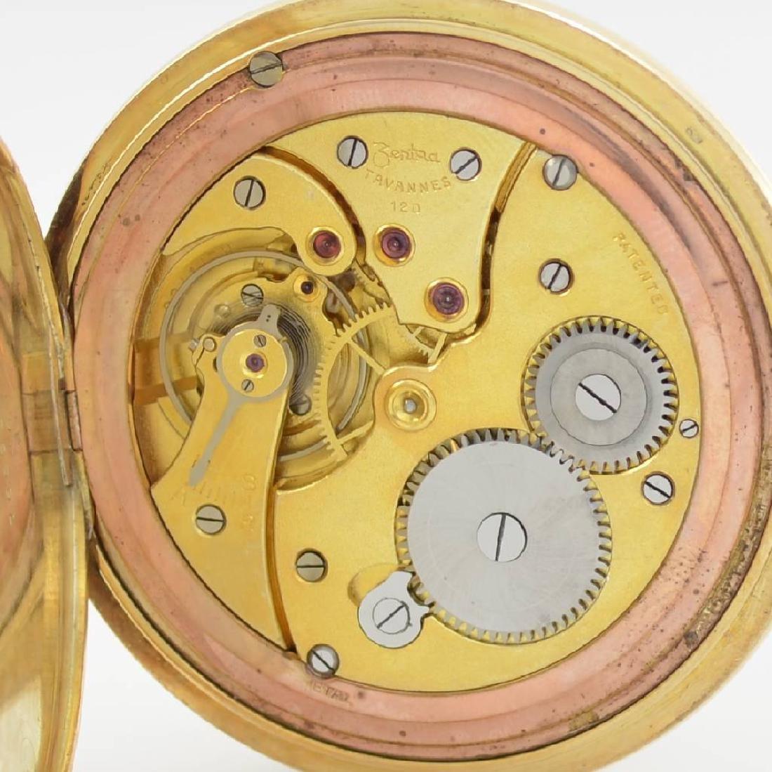 ZENTRA/TAVANNES 14k yellow gold hunting cased pocket - 8