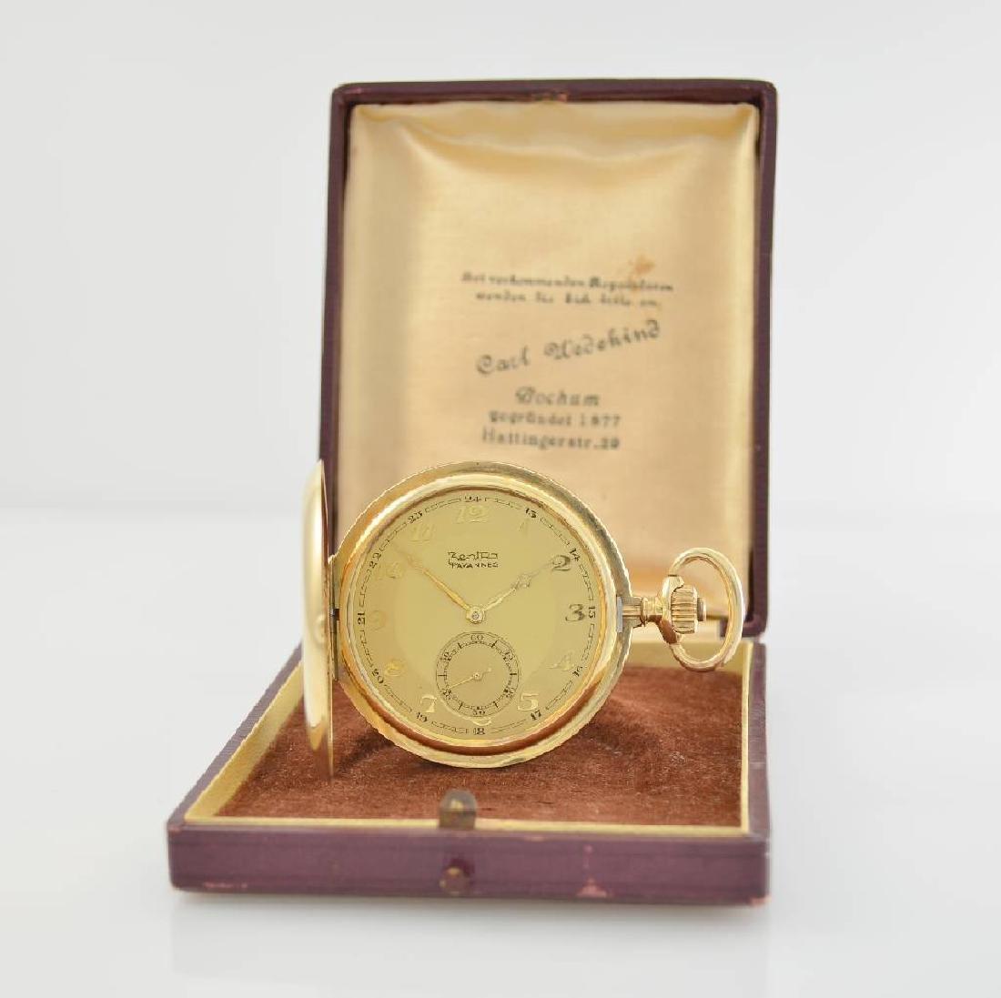 ZENTRA/TAVANNES 14k yellow gold hunting cased pocket - 9
