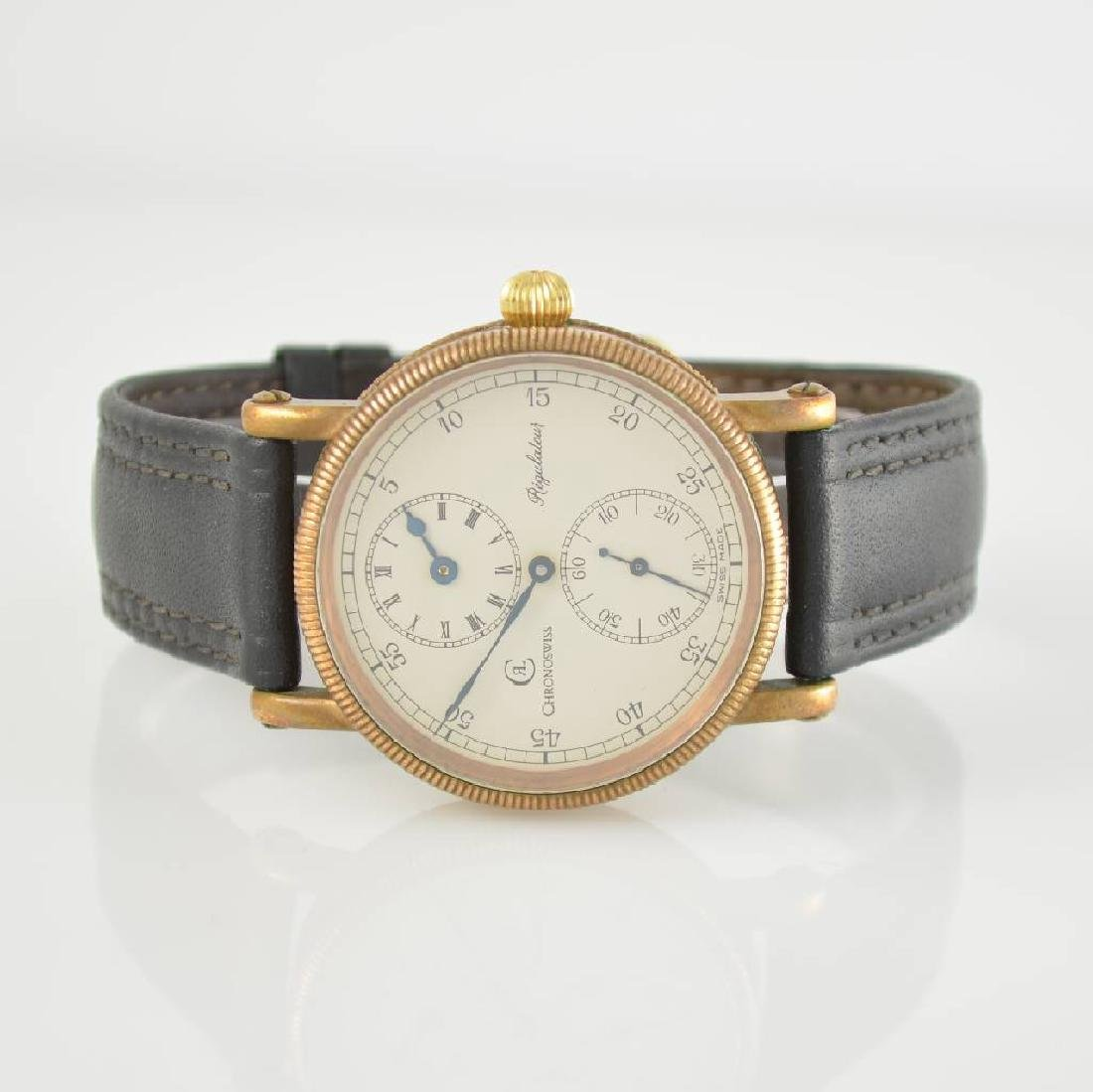 CHRONOSWISS rare gents wristwatch Regulateur in bronce