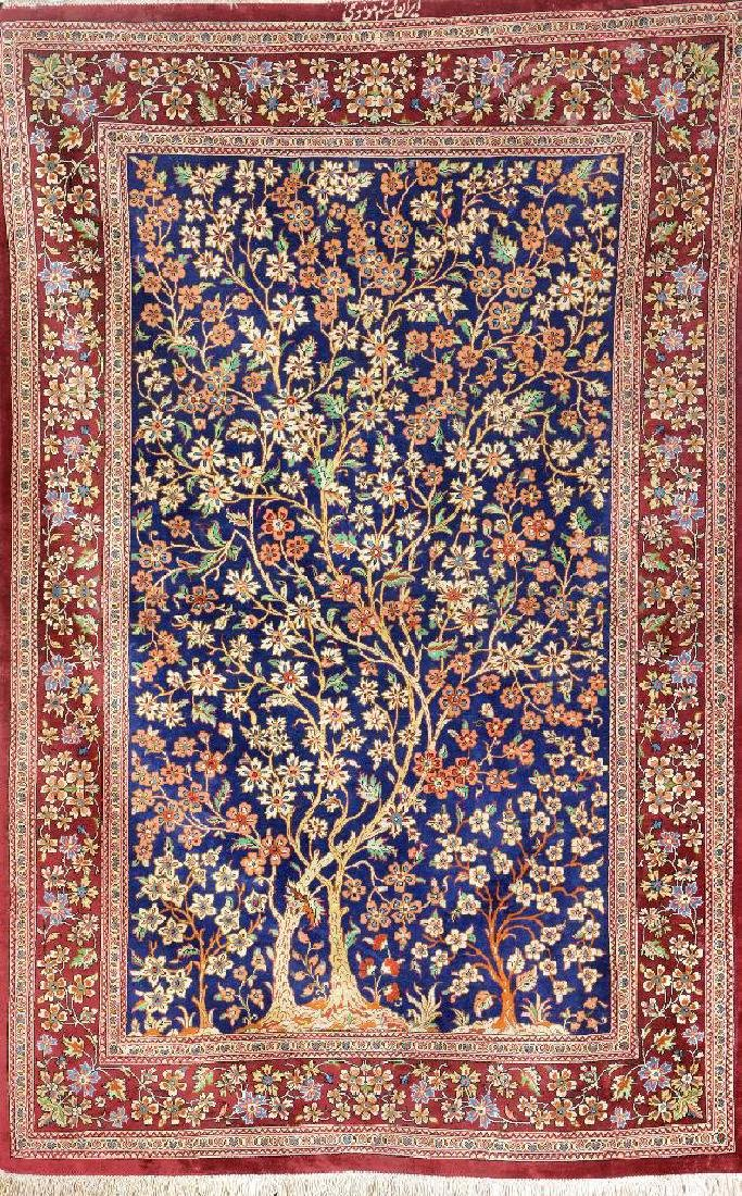 Silk Qum 'Tree Of Life' Rug (Signed),