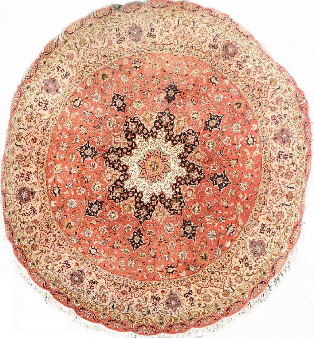 Round Tabriz Rug 'Part-Silk',